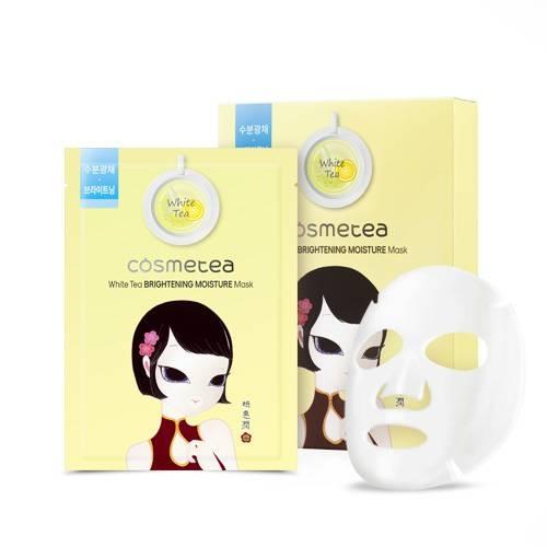 Осветляющая тканевая маска с экстрактом белого чая и лимона Cosmetea White Tea Brightening Moisture Mask 30ml 0 - Фото 1