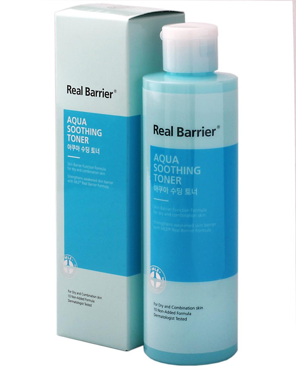 Тонер для лица Увлажняющий Успокаивающий С Экстрактом Центеллы  Real Barrier Aqua Soothing Toner 200 ml 0 - Фото 1