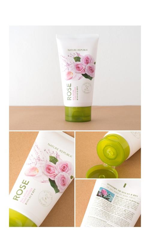 Увлажняющая пенка для умывания с маслом дамасской розы Nature Republic Real Nature Foam Cleanser #Rose 150ml 0 - Фото 1