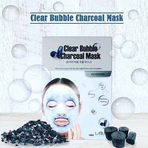 Очищающая Маска Кислородная C Древесным Углем LABUTE Clear Bubble Charcoal Mask Упаковка 10шт