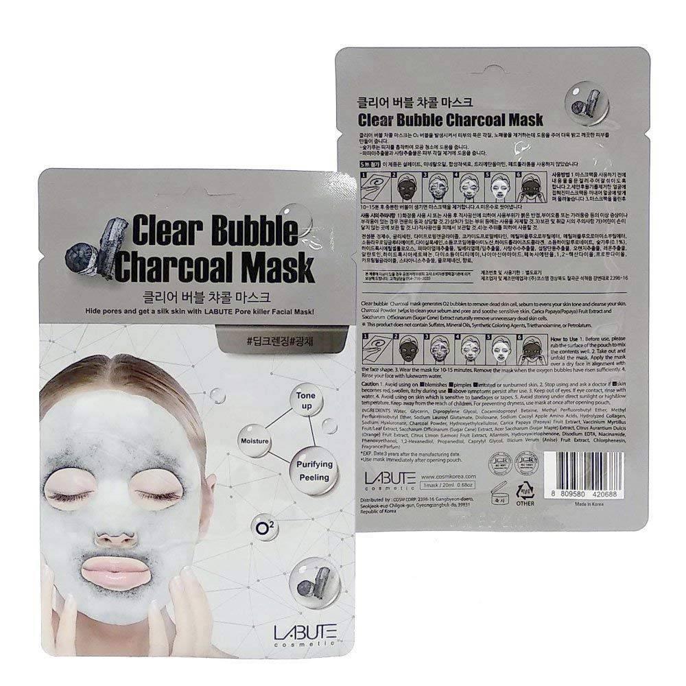 Очищающая Маска Кислородная C Древесным Углем LABUTE Clear Bubble Charcoal Mask Упаковка 10шт 1 - Фото 2