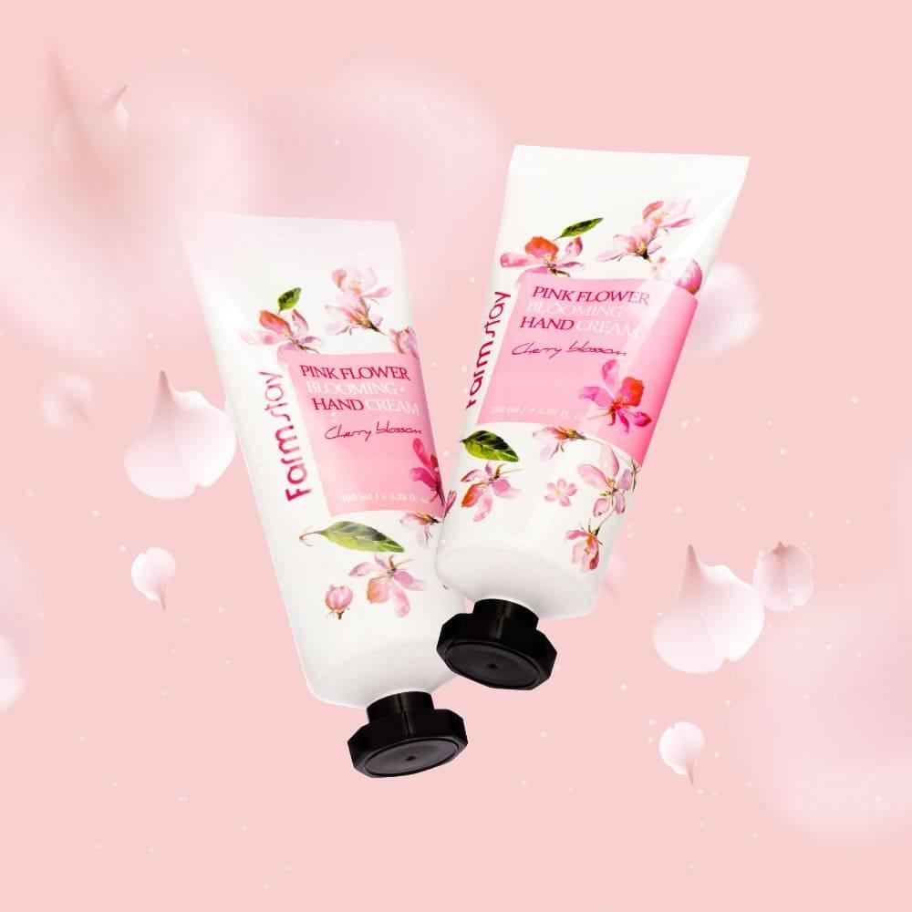 Крем для рук интенсивно увлажняющий с экстрактом цветов вишни FarmStay Pink Flower Blooming Hand Cream Cherry Blossom 100ml