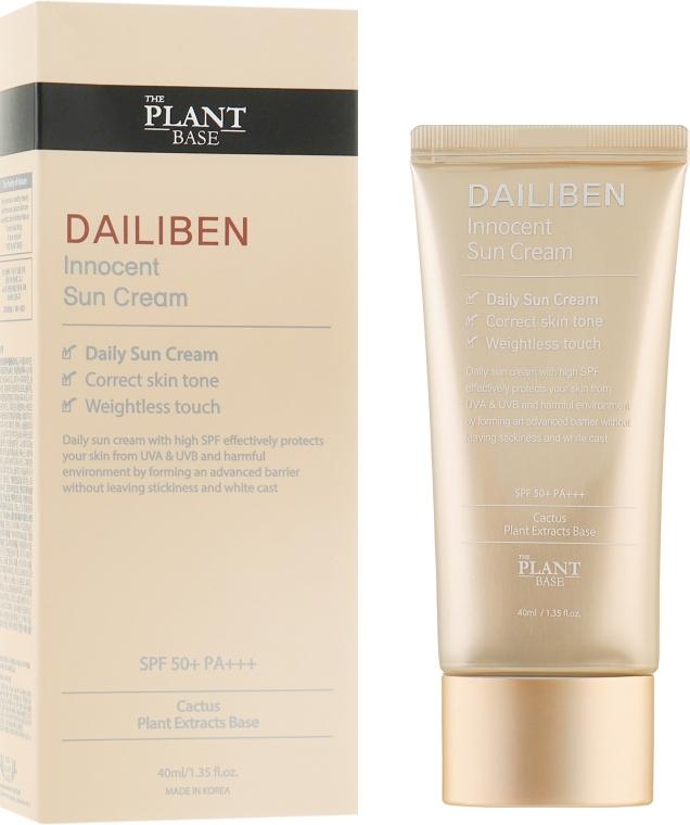 Солнцезащитный крем для лица с экстрактом кактуса и витаминным комплексом The Plant Base Dailiben Innocent Sun Cream SPF50+ PA+++ 40ml 0 - Фото 1