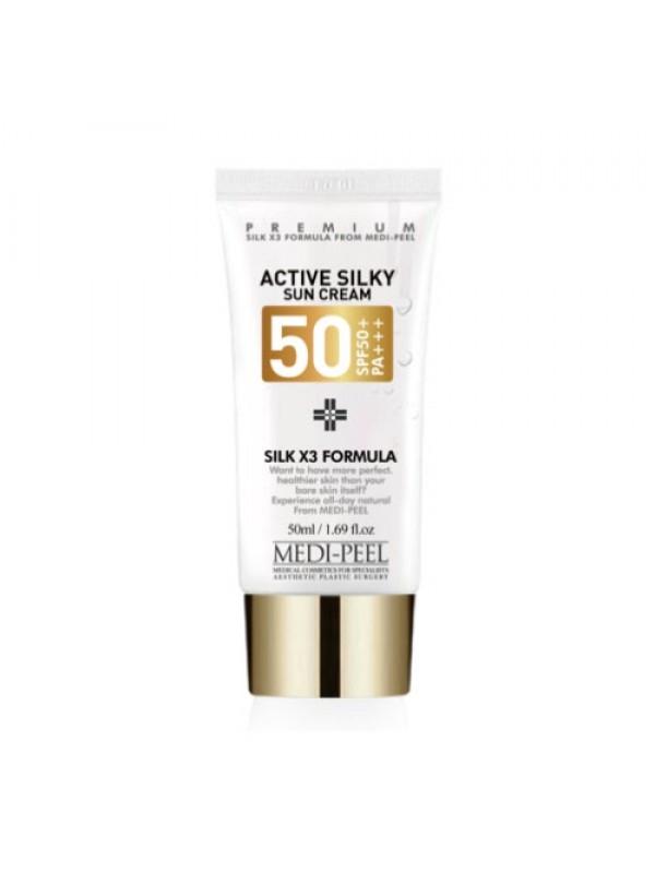 Солнцезащитный крем с пептидами и аминокислотами шёлка Medi-peel Active Silky Sun Cream SPF50+PA+++ 50ml 0 - Фото 1