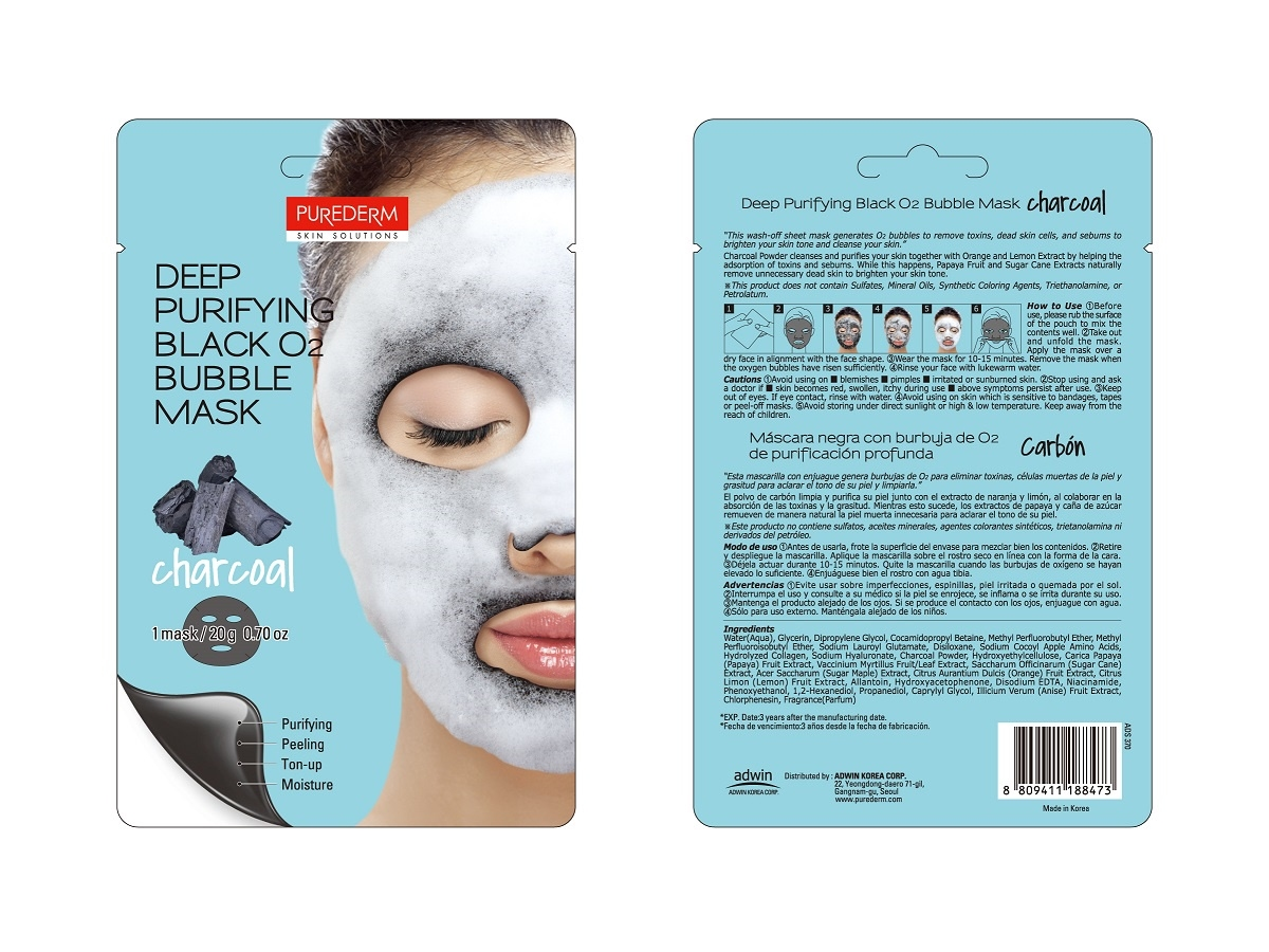 Маска тканевая очищающая угольная для лица Eyenlip DETOXIFYING BLACK O2 BUBBLE MASK CHARCOAL 20ml 2 - Фото 2
