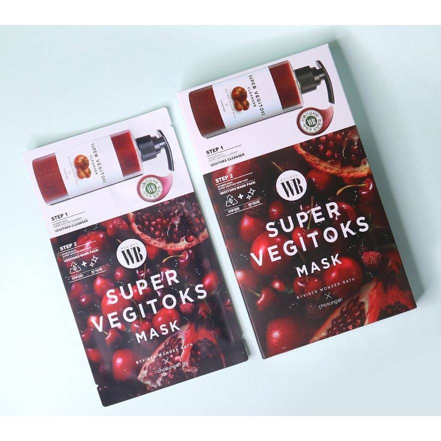Маска 2-x ступенчатая с экстрактом граната для жирной кожи Wonder Bath Super Vegitoks Mask Pack-Red 28 ml 1 - Фото 2