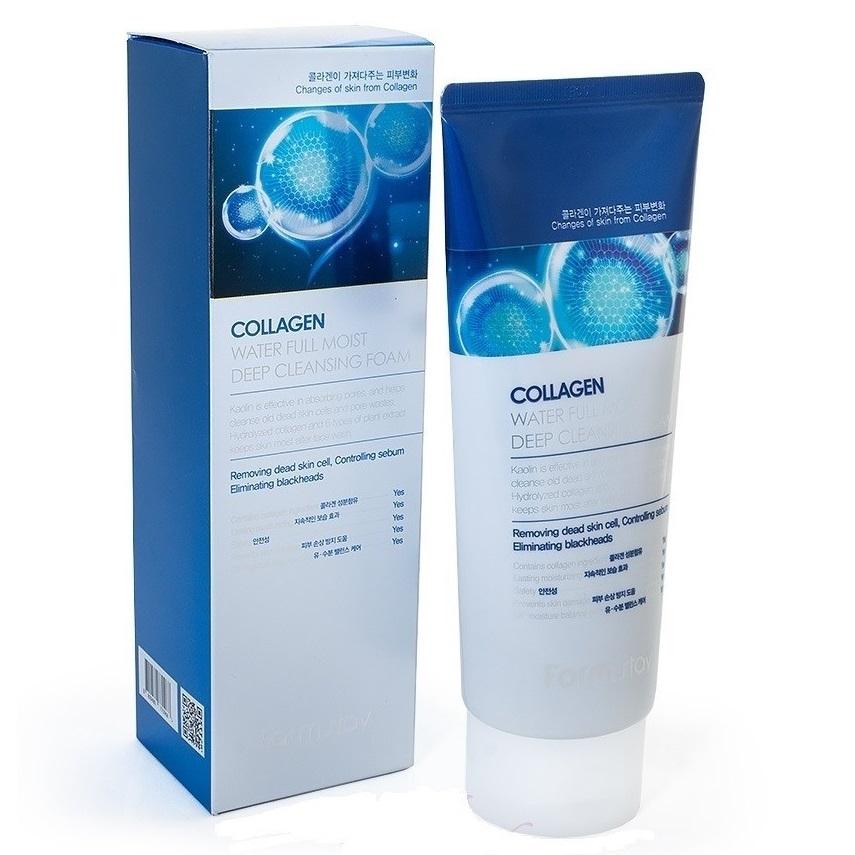 Пенка увлажняющая для бережного очищения лица с коллагеном FarmStay Collagen Water Full Moist Deep Cleansing Foam 180ml 1 - Фото 2