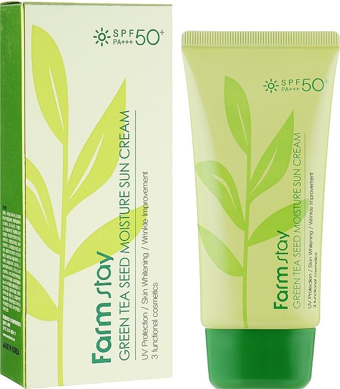 Солнцезащитный крем увлажняющий с экстрактом зеленого чая FarmStay Green Tea Seed Moisture Sun Cream SPF50+/PA+++ 70ml