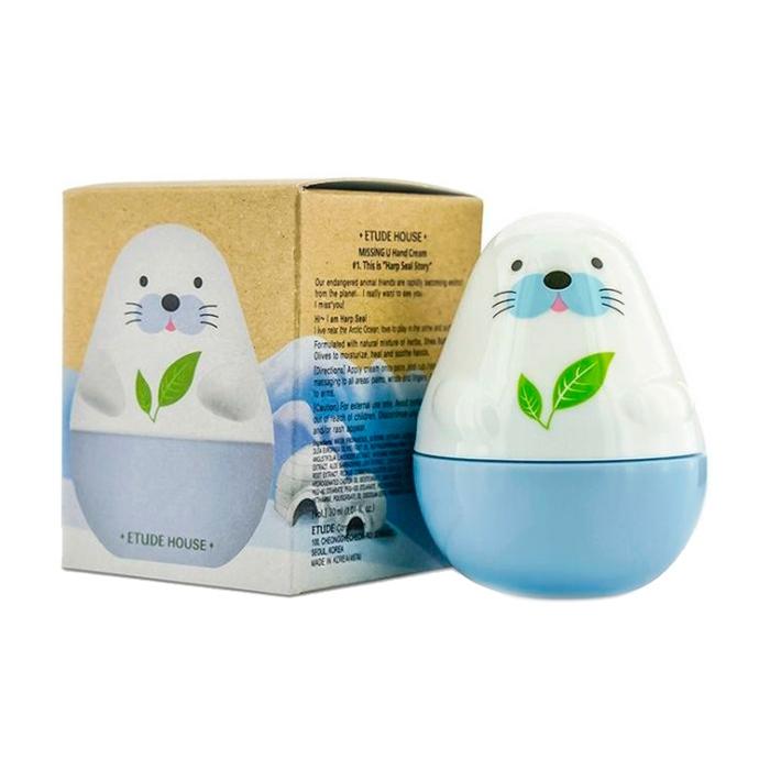 Крем для рук с ароматом натуральных трав и зеленого чая Etude House Missing U Hand Cream Harp Seals 30ml 0 - Фото 1
