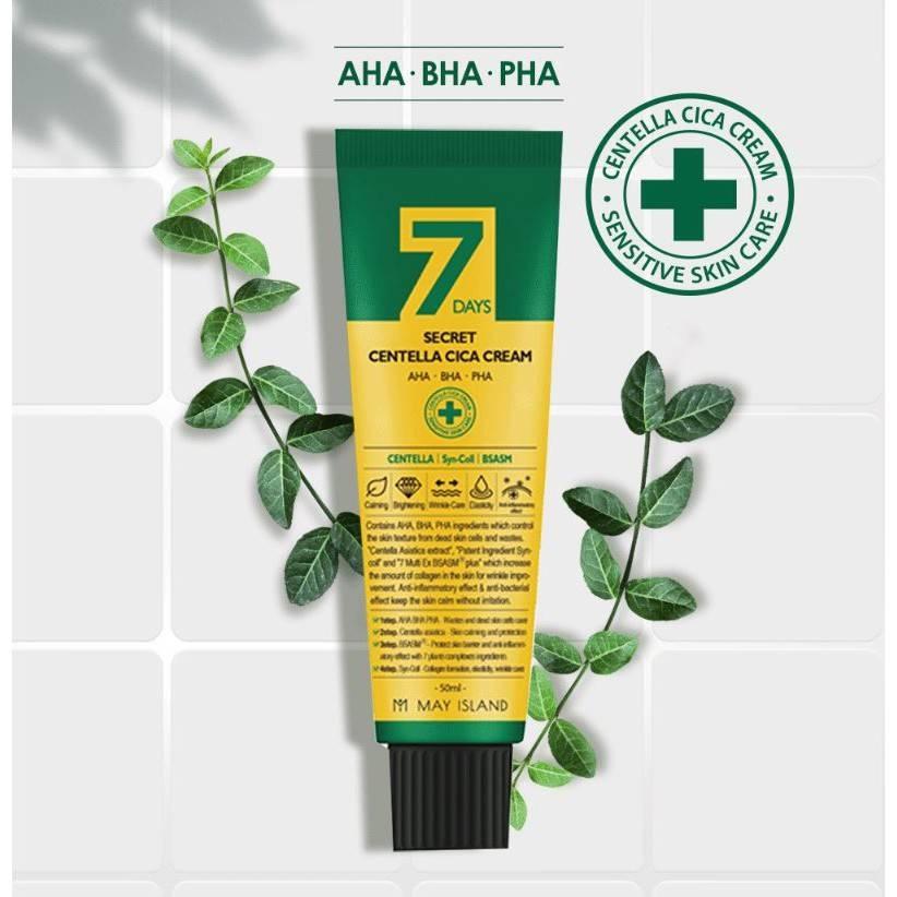 Крем противовоспалительный для восстановления проблемной дермы с AHA/BHA/PHA кислотами и центеллой May Island 7 Days Secret Centella Cica Cream 50ml 1 - Фото 2