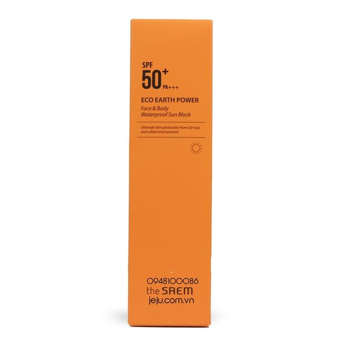 Солнцезащитный водостойкий крем для лица и тела THE SAEM Eco Earth Power Face & Body Waterproof Sun Block SPF50+ PA+++ 100ml 0 - Фото 1