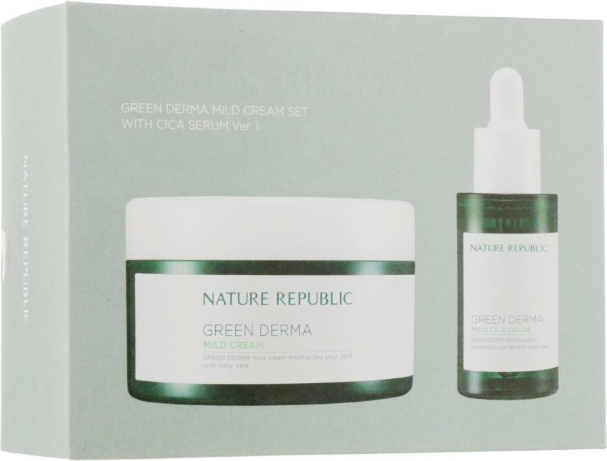 Набор из увлажняющего крема и сыворотки Nature Republic Green Derma Mild Cream SET With CICA SERUM Ver.1 (Cream 190ml+Serum 30ml) 0 - Фото 1