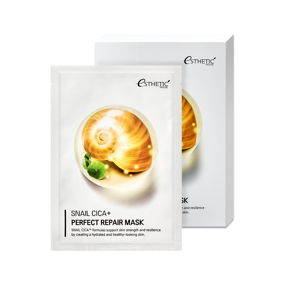 Тканевая маска с улиточным муцином и экстрактом центеллы Esthetic House Snail Cica+Perfect Repair Mask 25ml 2 - Фото 2