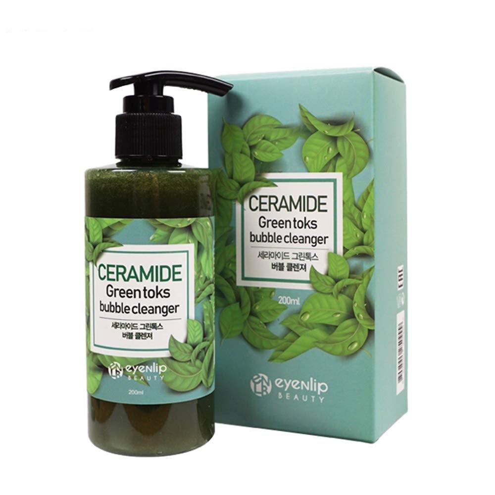 Пенка пузырьковая зеленая с керамидами и целебными травами для лица Eyenlip CERAMIDE GREEN TOKS BUBBLE CLEANSER 200ml 0 - Фото 1