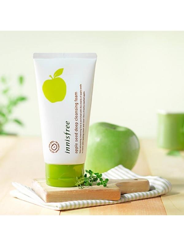 Освежающая пенка для умывания с экстрактом зеленого яблока Innisfree Apple Seed Cleansing Foam 150ml 2 - Фото 3
