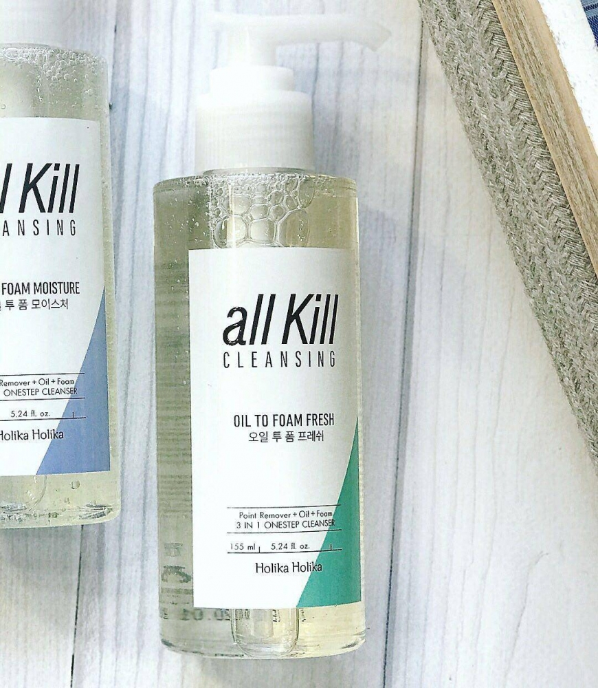 Очищающее масло-пенка  Holika Holika All Kill Cleansing Oil To Foam Fresh 2 - Фото 2