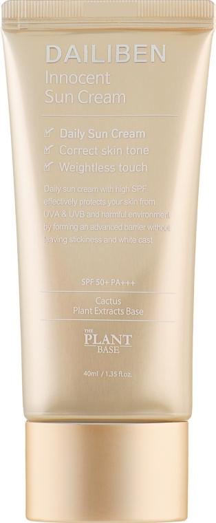 Солнцезащитный крем для лица с экстрактом кактуса и витаминным комплексом The Plant Base Dailiben Innocent Sun Cream SPF50+ PA+++ 40ml 2 - Фото 2