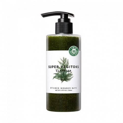 Детокс-гель для умывания увлажняющий с экстрактом хлореллы Wonder Bath Super Vegitoks Cleanser Green 200ml 1 - Фото 2