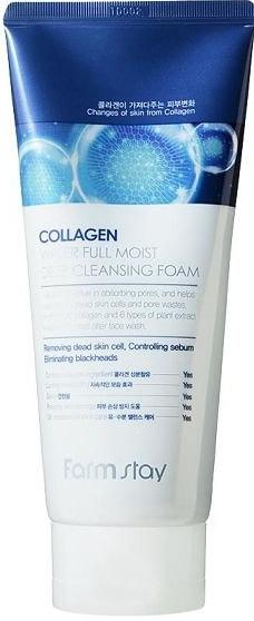 Пенка увлажняющая для бережного очищения лица с коллагеном FarmStay Collagen Water Full Moist Deep Cleansing Foam 180ml 0 - Фото 1