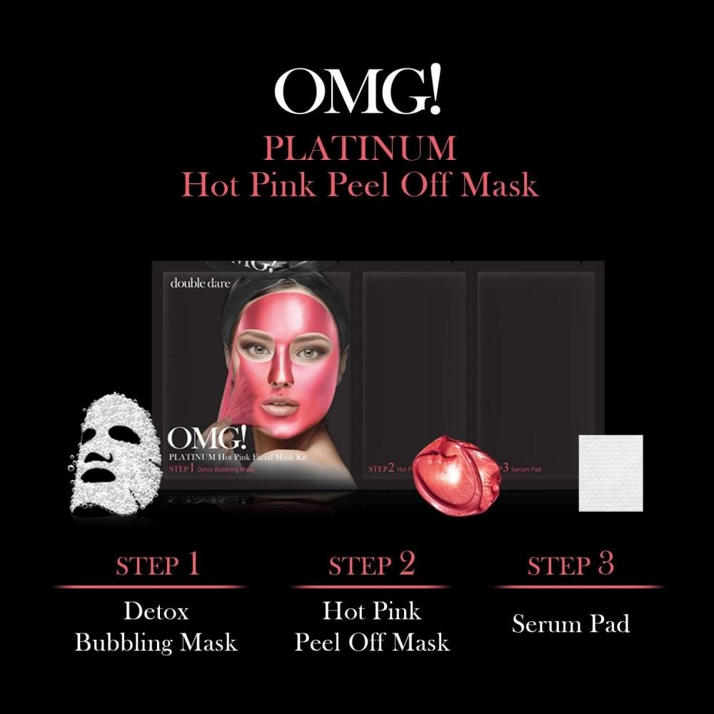 Комплекс масок трехкомпонентный для сияния кожи  Double Dare OMG! Platinum HOT PINK Facial Mask Kit 0 - Фото 1