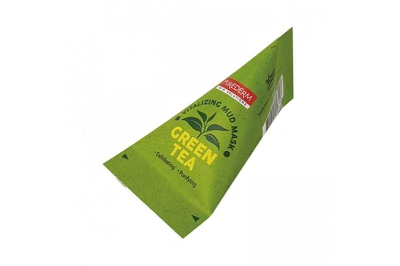 Маска на основе глины с увлажняющим и освежающим эффектом Green Tea Vitalizing Facial Mud Mask PUREDERM 20ml 2 - Фото 2