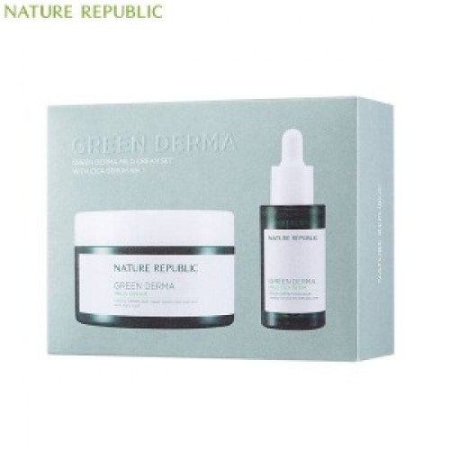 Набор из увлажняющего крема и сыворотки Nature Republic Green Derma Mild Cream SET With CICA SERUM Ver.1 (Cream 190ml+Serum 30ml) 2 - Фото 2