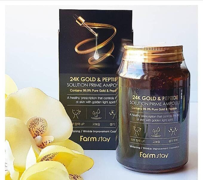 Сыворотка омолаживающая с пептидами и золотом FarmStay 24K Gold & Peptide Solution Prime Ampoule 250ml
