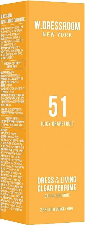 Парфюмированная вода для одежды и белья с ароматом грейпфрута W. Dressroom Dress & Living Clear Perfume No.51 Juicy Grapefruit 70ml 0 - Фото 1
