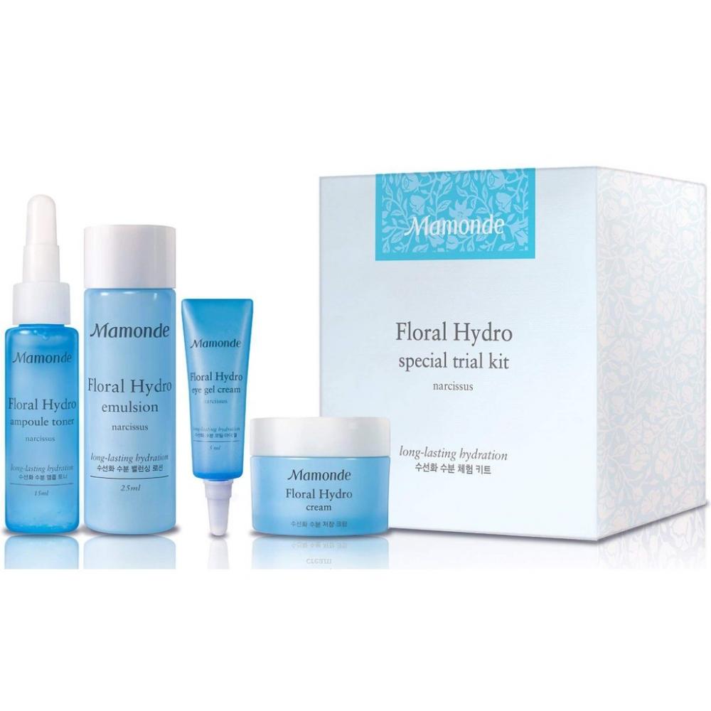Набор: тонер, эмульсия, гель-крем для кожи вокруг глаз и крем для лица  увлажняющие Mamonde Floral Hydro Special Trial Kit 15ml*25ml*5ml*15ml 0 - Фото 1