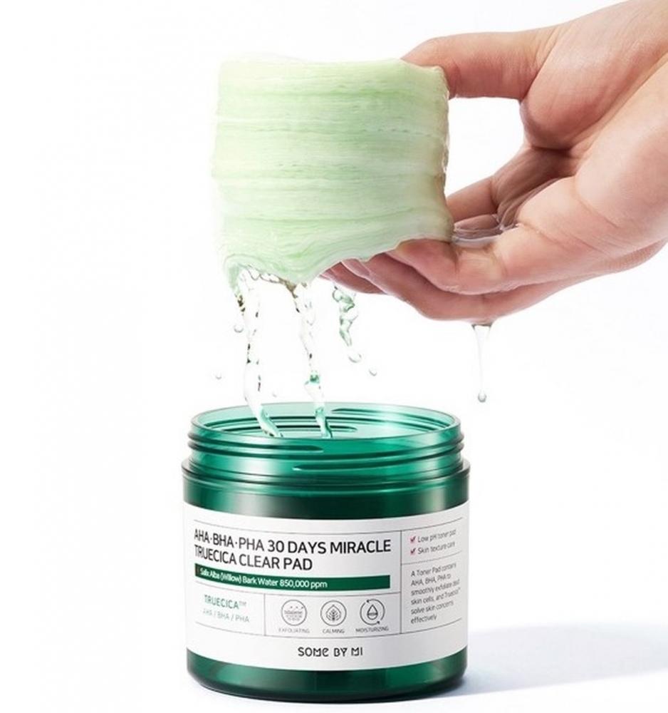 Пилинг-пэды успокаивающие с экстрактом центеллы для проблемной кожи Some By Mi AHA BHA PHA 30 Days Miracle Truecica Clear Pad  (70ea) 0 - Фото 1