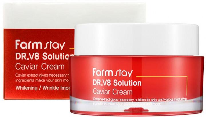 Крем для лица «Икра» от морщин с осветляющим действием FarmStay DR.V8 Solution Caviar Cream 50ml 0 - Фото 1