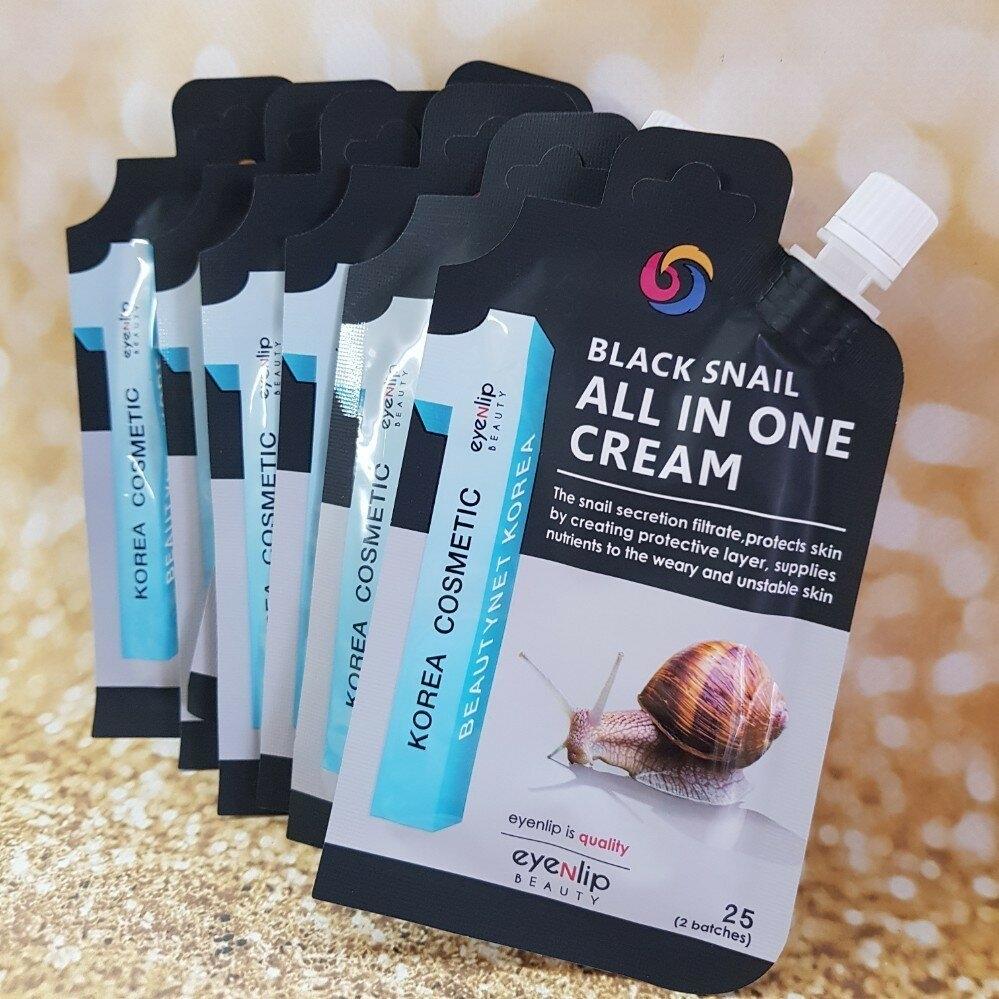Крем многофункциональный с муцином черной улитки для лица Eyenlip BLACK SNAIL ALL IN ONE CREAM 25ml 0 - Фото 1