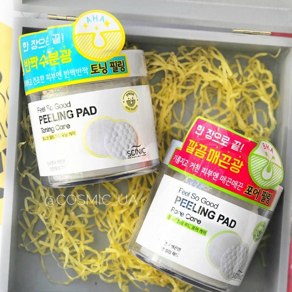 Пилинг диск для очищения лица с АНА кислотами Scinic Feel So Good Peeling Pad [Pore Care] 70шт 0 - Фото 1
