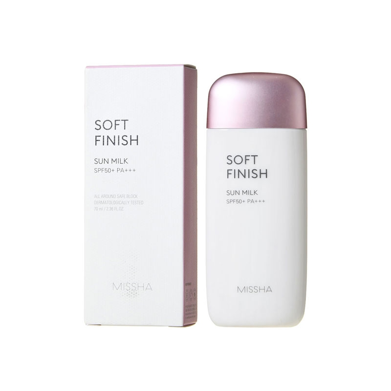 Молочко солнцезащитное для чувствительной кожи MISSHA All Around Safe Block Soft Finish Sun Milk SPF50+/PA+++ 70ml