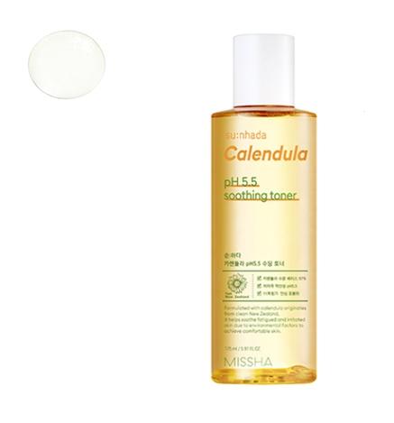 Тонер для лица успокаивающий с экстрактом календулы Su:nhada Calendula pH 5.5 Soothing Toner Missha 175ml 0 - Фото 1