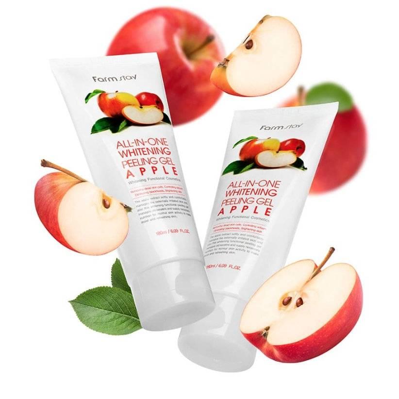 Пилинг-скатка осветляющая с экстрактом яблока FarmStay All-In-One Whitening  (Refresh) Peeling Gel Cream Apple 180ml 2 - Фото 2