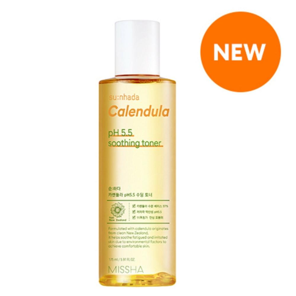 Тонер для лица успокаивающий с экстрактом календулы Su:nhada Calendula pH 5.5 Soothing Toner Missha 175ml 2 - Фото 2