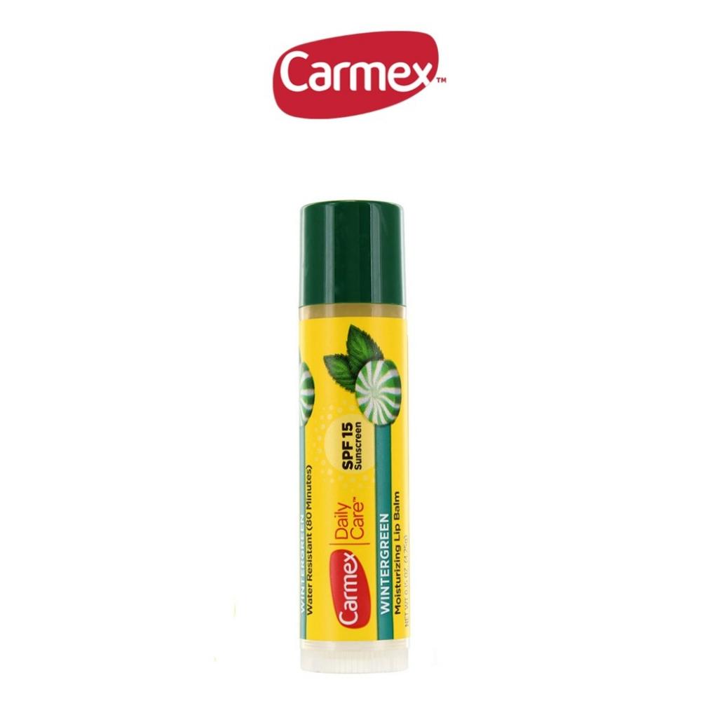 Бальзам для губ со вкусом мяты Carmex Daily Care Wintergreen lip balm stick SPF 15,  4.25g 3 - Фото 3