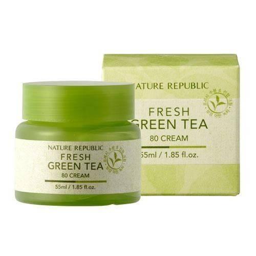 Крем Увлажняющий С Экстрактом Зеленого Чая Nature Republic Fresh Green Tea 80% Cream 55ml