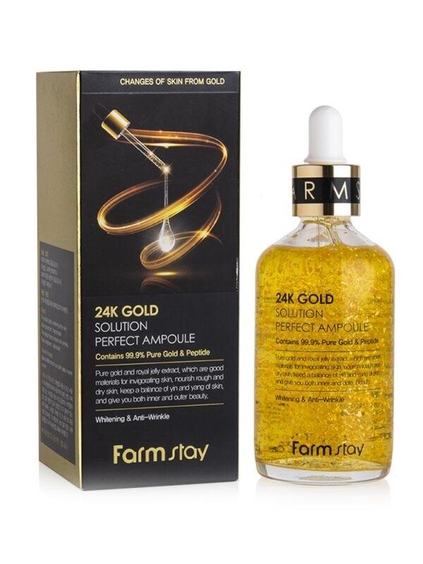 Сыворотка антивозрастная с пептидами FarmStay 24K Gold Solution Perfect Ampoule 100 ml 0 - Фото 1