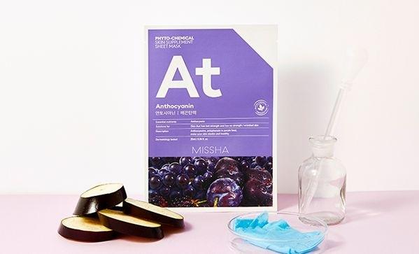 Тканевая фитохимическая маска с антоцианином для омоложения кожи Missha Phytochemical Skin Supplement Sheet Mask Anthocyanin/Lifting 25ml 0 - Фото 1