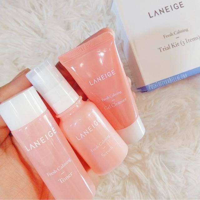 Набор из 3-х миниатюр для ухода за чувствительной кожей. Гель+тонер+сыворотка для лица Laneige Fresh Calming Trial Kit (3 Items) 50ml 1 - Фото 2