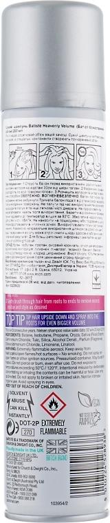 Шампунь очищающий сухой бессульфатный для волос Batiste Dry Shampoo Heavenly Volume 200 ml 2 - Фото 2