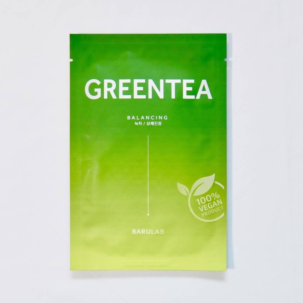 Маска Тканевая Веганска Восстанавливающая С Зеленым Чаем Barulab The Clean Vegan Green Tea Mask 23ml 0 - Фото 1