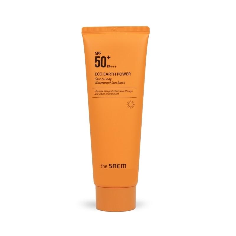 Солнцезащитный водостойкий крем для лица и тела THE SAEM Eco Earth Power Face & Body Waterproof Sun Block SPF50+ PA+++ 100ml 2 - Фото 2