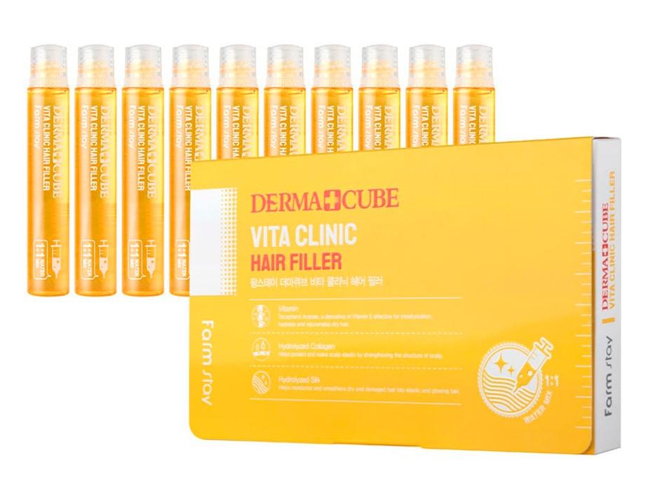 Филлер восстанавливающий с витамином E для волос FarmStay Derma Cubed Vita Clinic Hair Filler 13ml 0 - Фото 1
