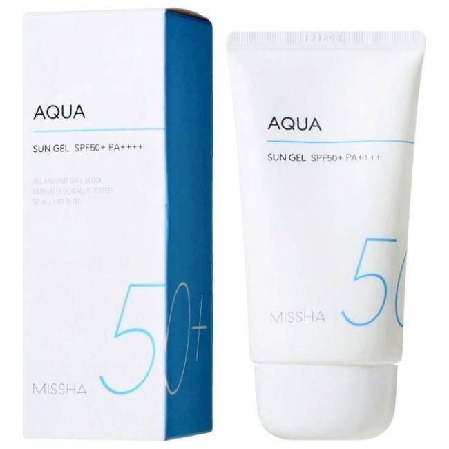 Солнцезащитный гель с экстрактом хризантемы Missha All Around Safe Block Aqua Sun Gel SPF50+/PA++++, 50ml