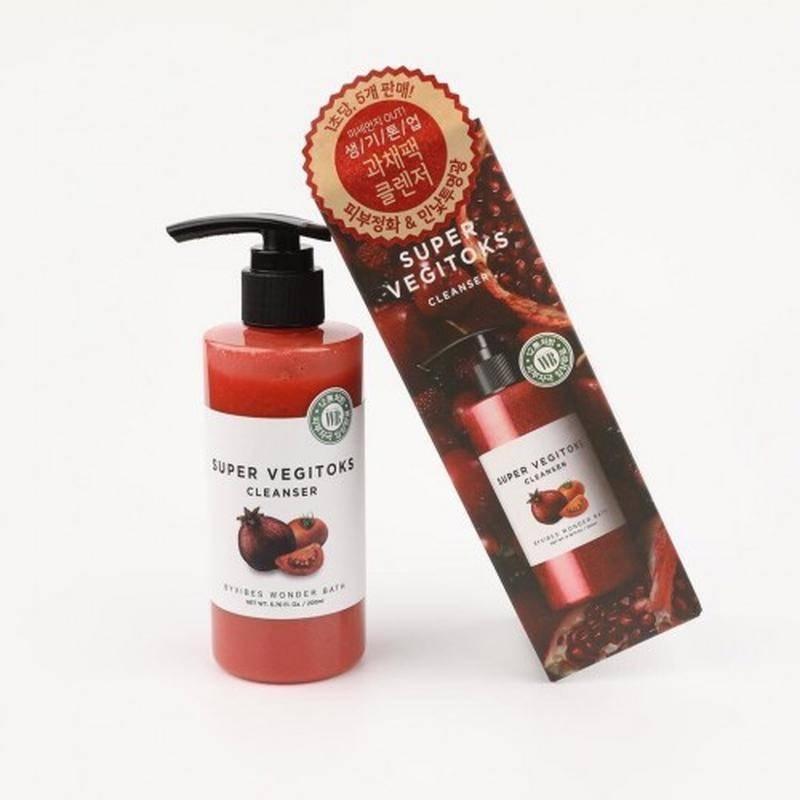 Детокс-гель для умывания для жирной кожи с экстрактом томата Wonder Bath  Super Vegitoks Cleanser Red 200 ml 2 - Фото 2