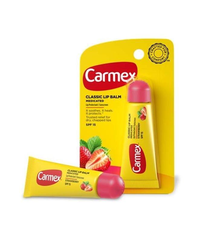 Бальзам лечебный со вкусом клубники для губ Carmex Daily Care Lip Balm SPF 15 Strawberry Tube 10g 0 - Фото 1