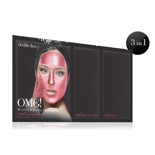 Комплекс масок трехкомпонентный для сияния кожи  Double Dare OMG! Platinum HOT PINK Facial Mask Kit 2 - Фото 2